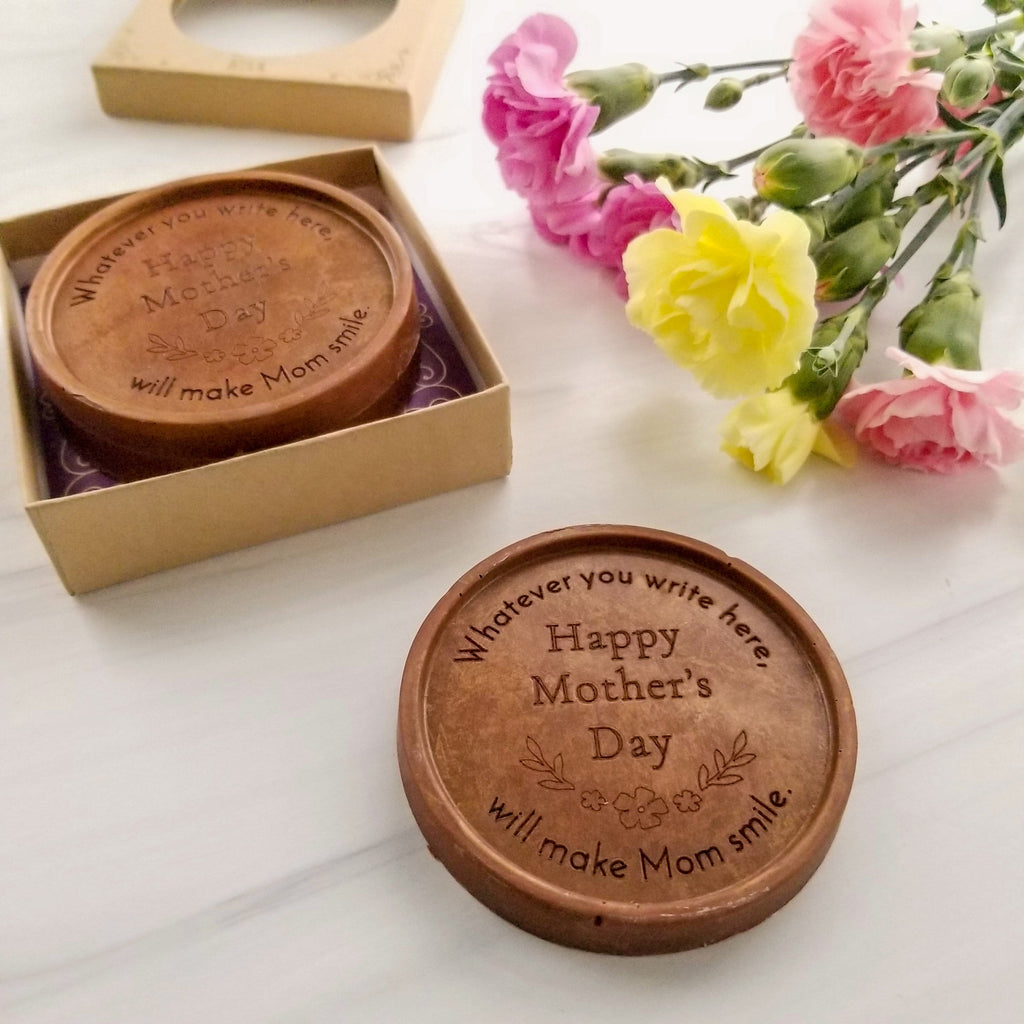 Noteworthy Chocolates Greetings Happy Mother's Day Flowers Chocolate Medallions - Box of 3 Personalized custom