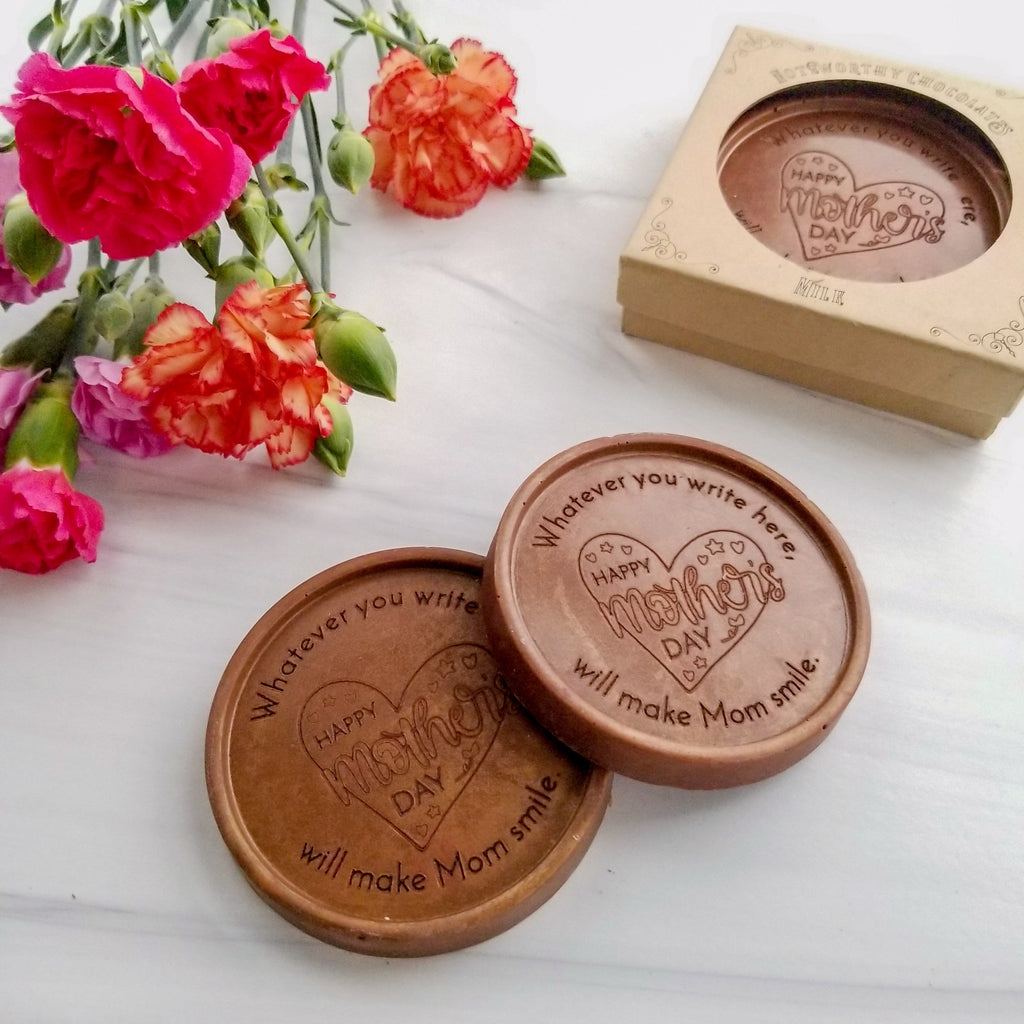 Noteworthy Chocolates Greetings Happy Mother's Day Heart Chocolate Medallions - Box of 3 Personalized custom