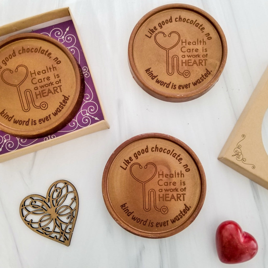 Noteworthy Chocolates Greetings Health Care Work of Heart Chocolate Medallions - Box of 3 Personalized