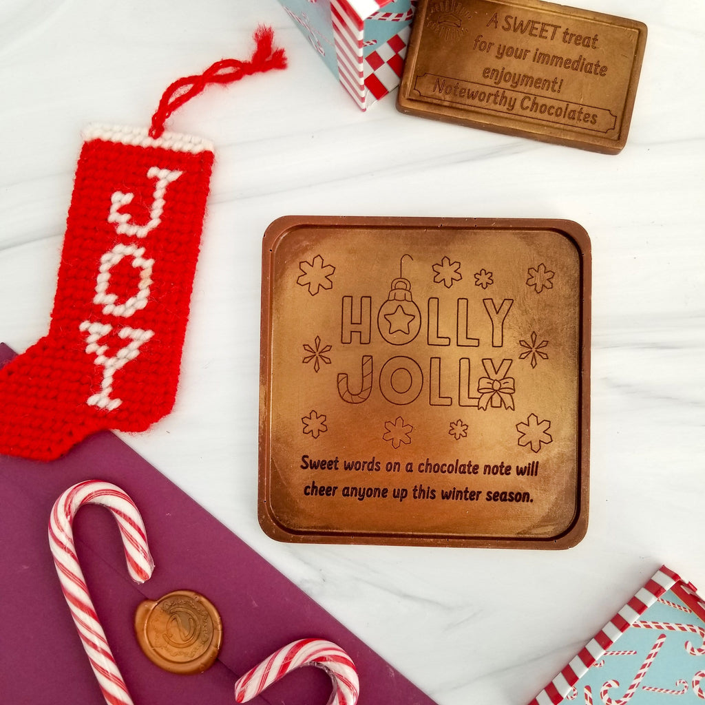 Noteworthy Chocolates Greetings Holly Jolly Personalized Chocolate Note Personalized