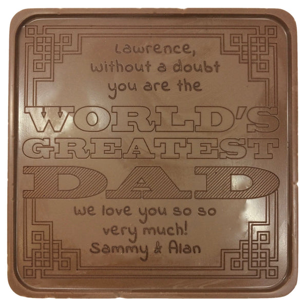 World's Greatest Dad Chocolate Card - Noteworthy Chocolates