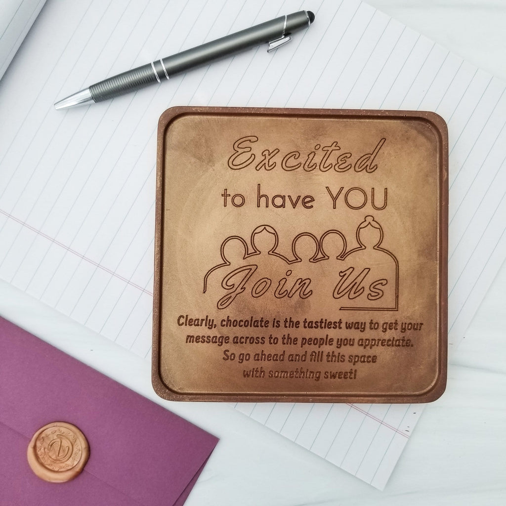 Noteworthy Chocolates Greetings Excited To Have You Join Us Personalized Chocolate Card Personalized custom