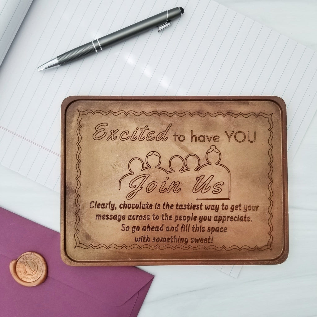 Noteworthy Chocolates Greetings Excited To Have You Join Us Personalized Chocolate Certificate Personalized custom
