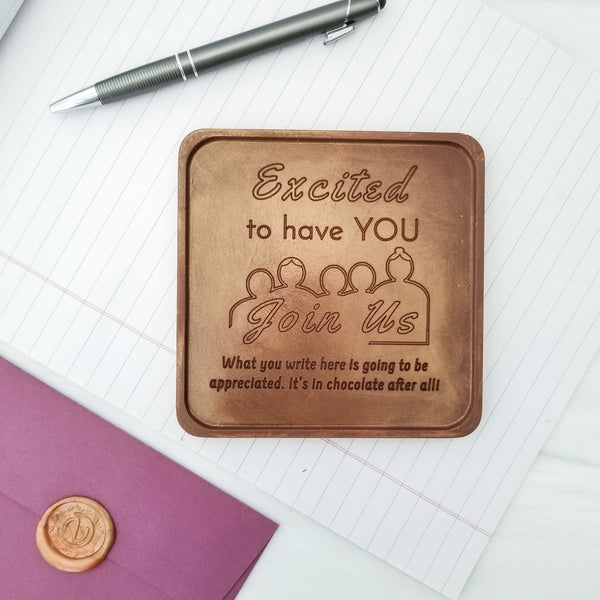 Excited To Have You Join Us Personalized Chocolate Note