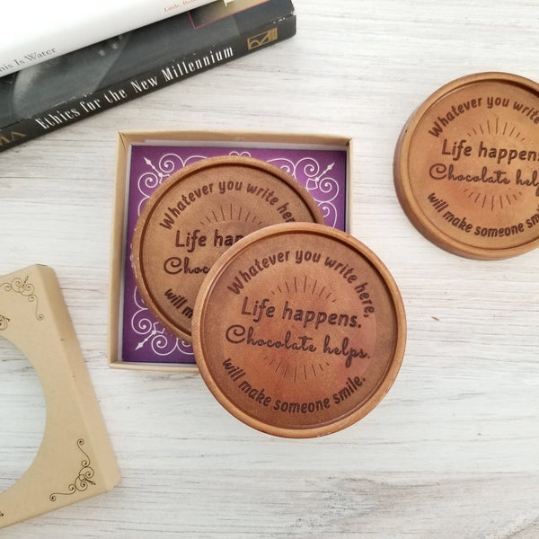 Noteworthy Chocolates Greetings Life Happens Personalized Chocolate Medallions - Box of 3 Personalized