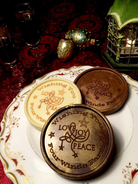 Love, Joy and Peace Chocolate Medallions - Box of 20