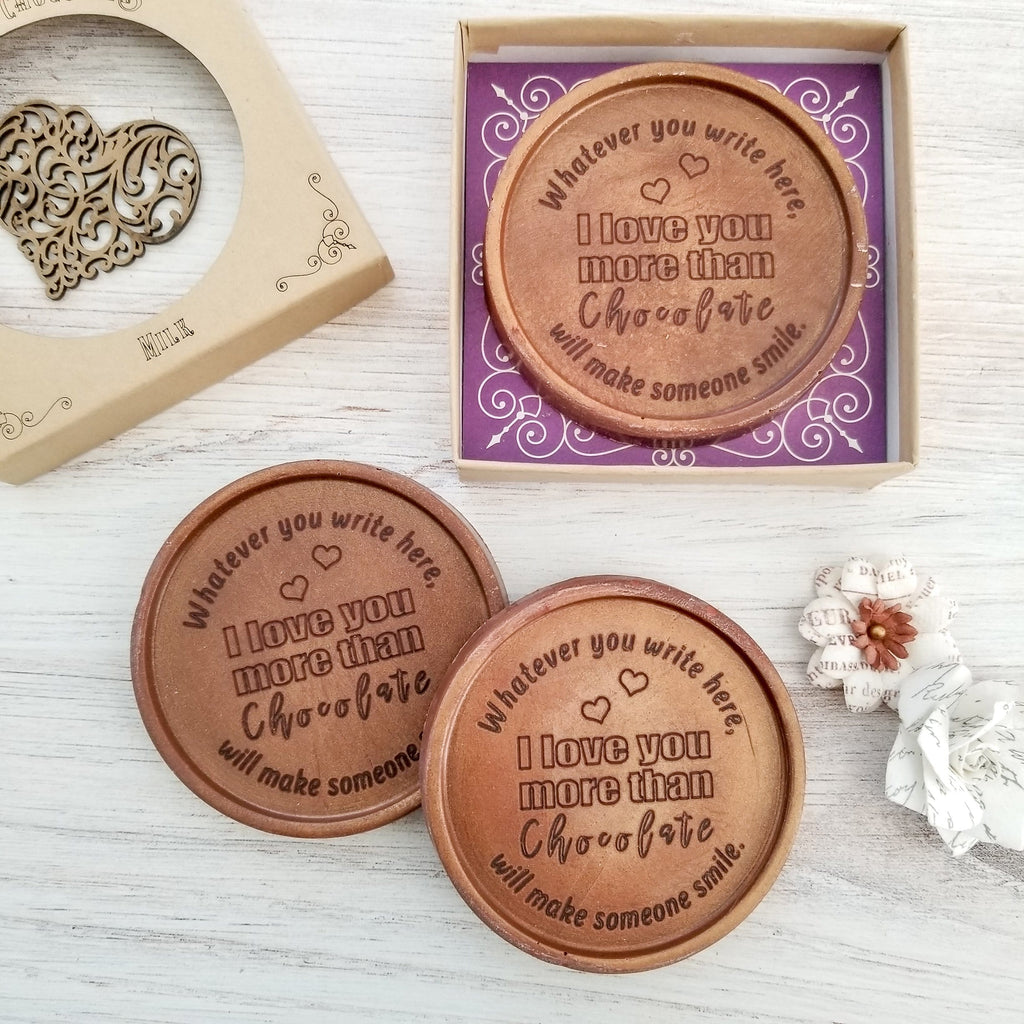Love You More Than Chocolate Personalized Medallions - Box of 3