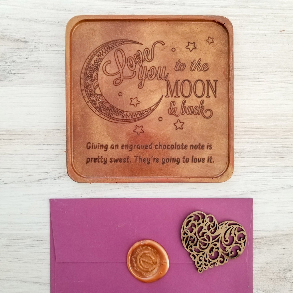 Noteworthy Chocolates Greetings Love You To The Moon Personalized Chocolate Note Love you To The Moon Custom Chocolate Note Personalized