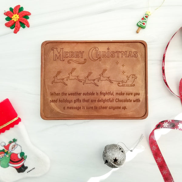 Merry Christmas Sleigh Personalized Chocolate Certificate