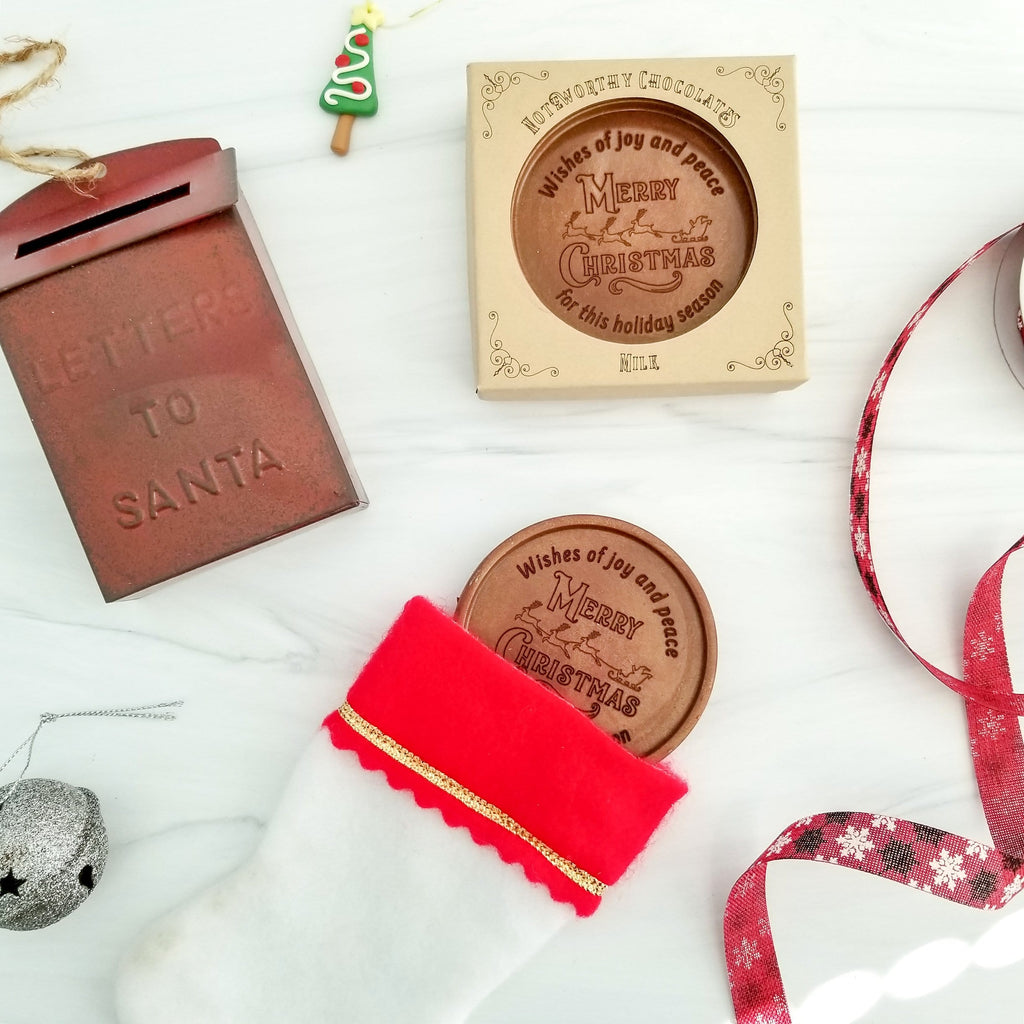 Noteworthy Chocolates Greetings Merry Christmas Sleigh Personalized Chocolate Medallions - Box of 3 Personalized
