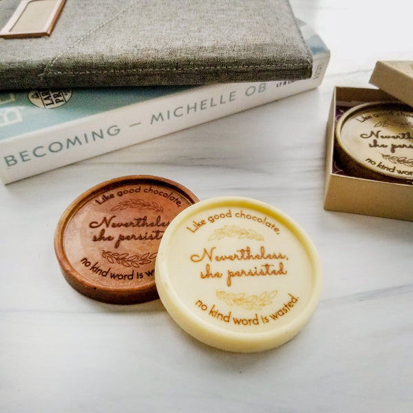 Noteworthy Chocolates Greetings Nevertheless, She Persisted Personalized Chocolate Medallions - Box of 3 Personalized custom
