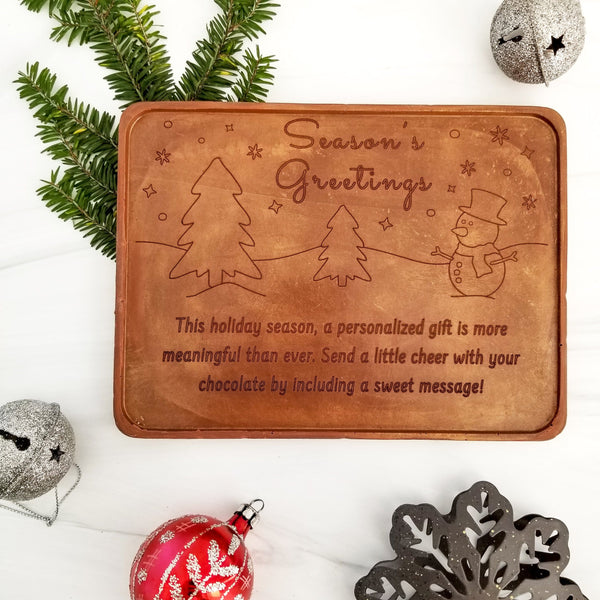 Season's Greetings Snowman Personalized Chocolate Certificate