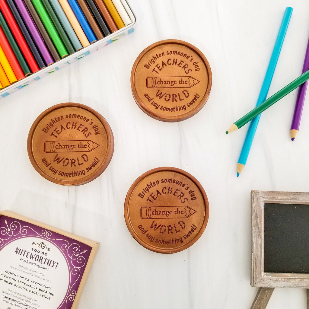 Noteworthy Chocolates Greetings Teachers Change The World Chocolate Medallions - Box of 3 Personalized