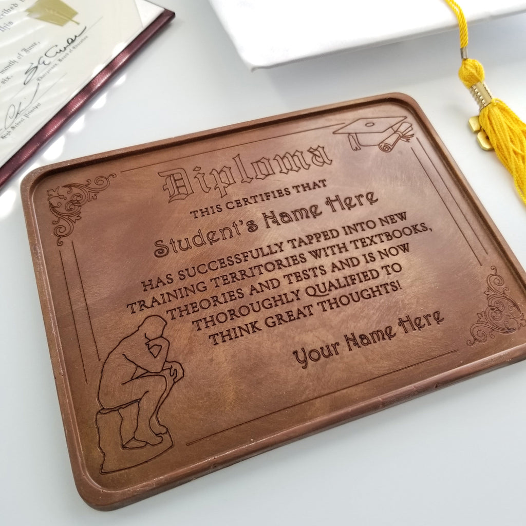 Noteworthy Chocolates Greetings Thinker Diploma Personalized Chocolate Certificate Personalized custom