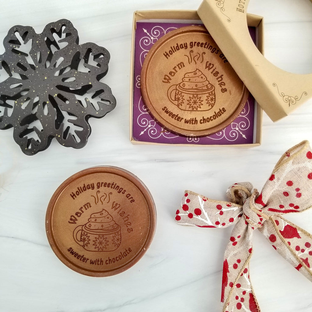 Warm Wishes Personalized Chocolate Medallions - Box of 3