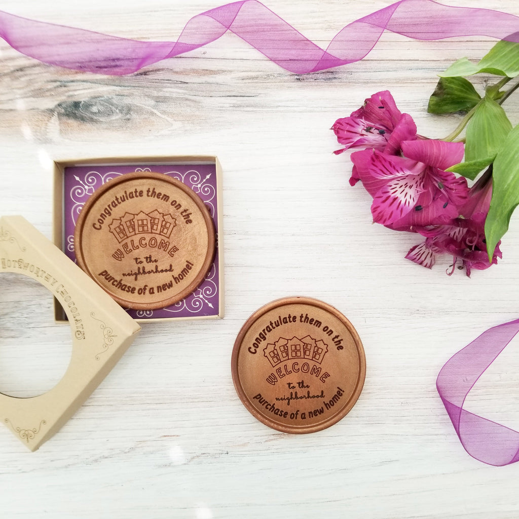 Noteworthy Chocolates Greetings Welcome To The Neighborhood Personalized Chocolate Medallions - Box of 3 Personalized custom