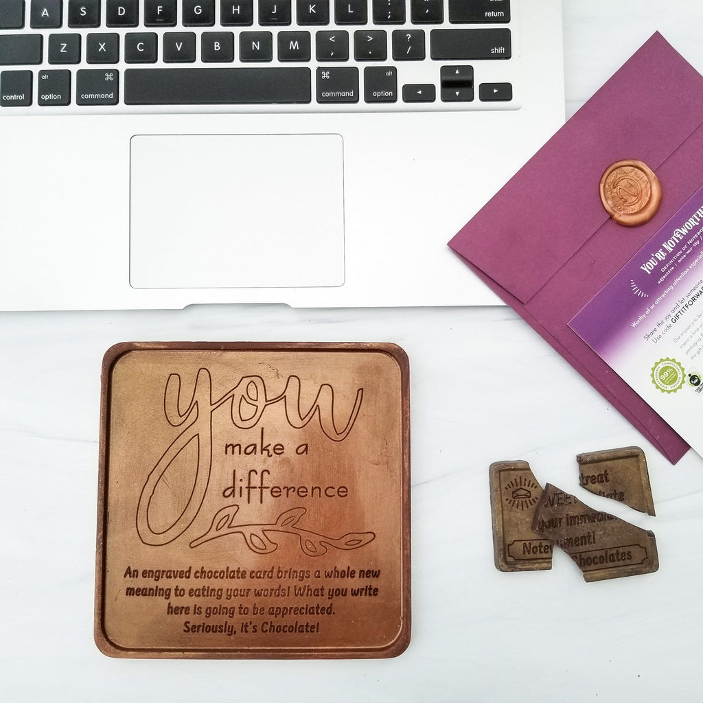 You Make A Difference Personalized Chocolate Card