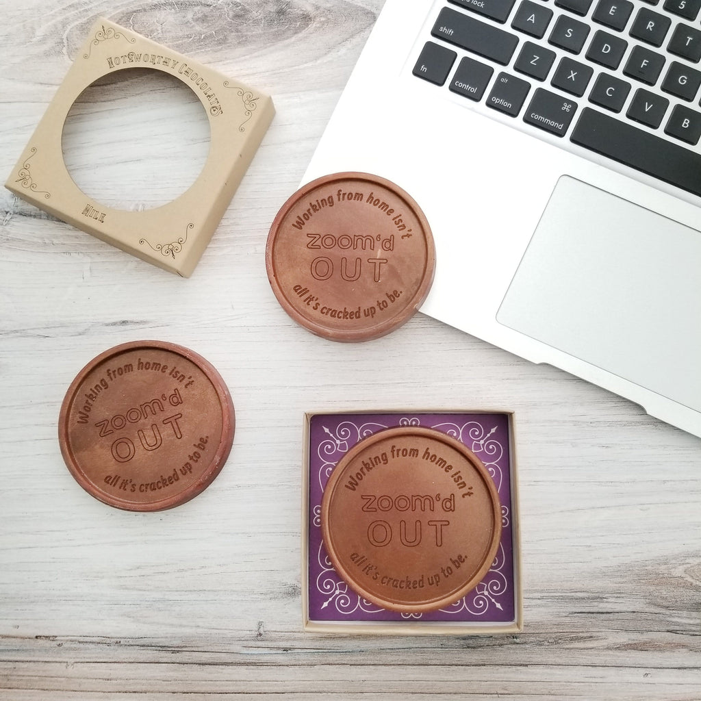 Noteworthy Chocolates Greetings Zoom'd Out Personalized Chocolate Medallions - Box of 3 Personalized
