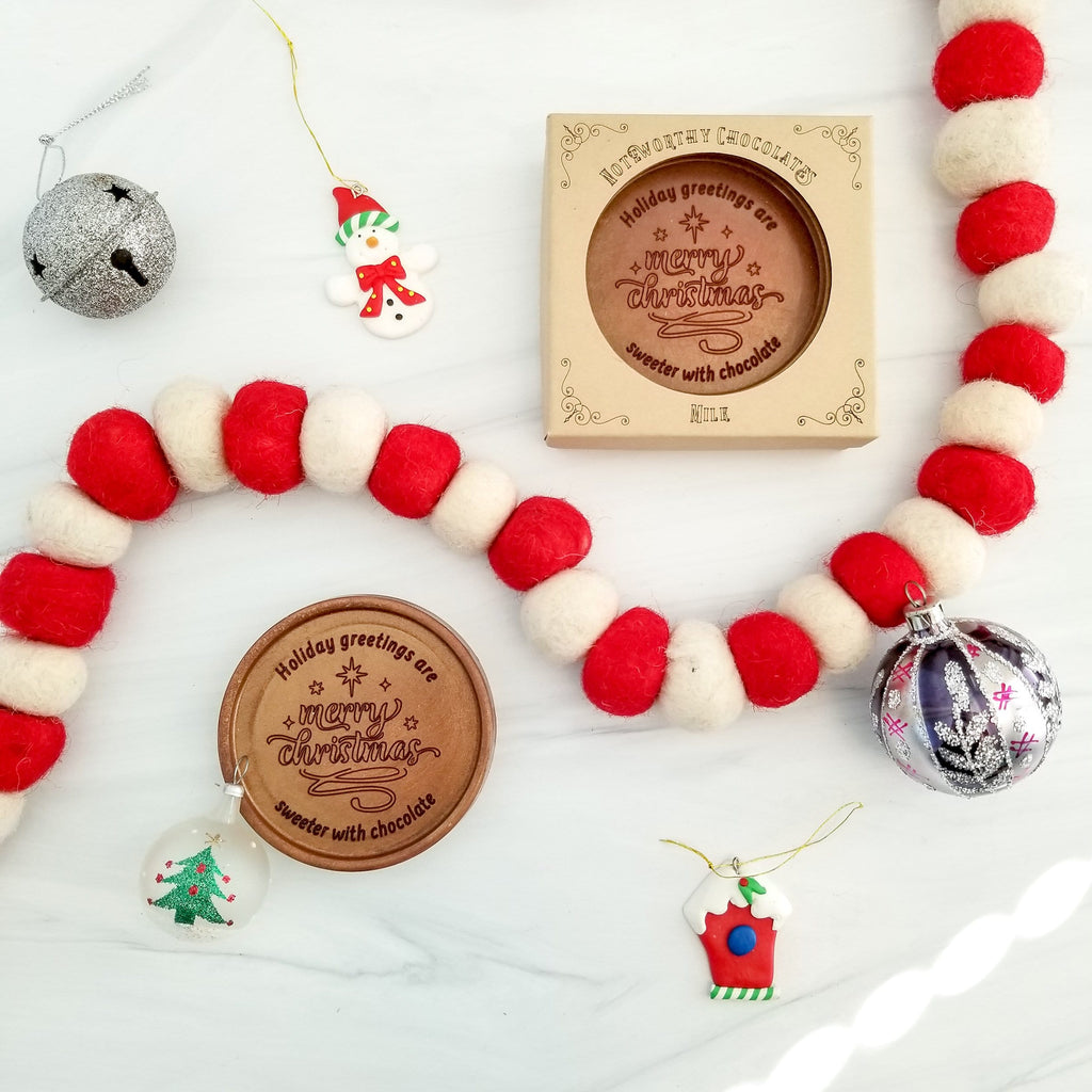 Noteworthy Chocolates Greetings Merry Christmas Personalized Chocolate Medallions - Box of 3 Personalized