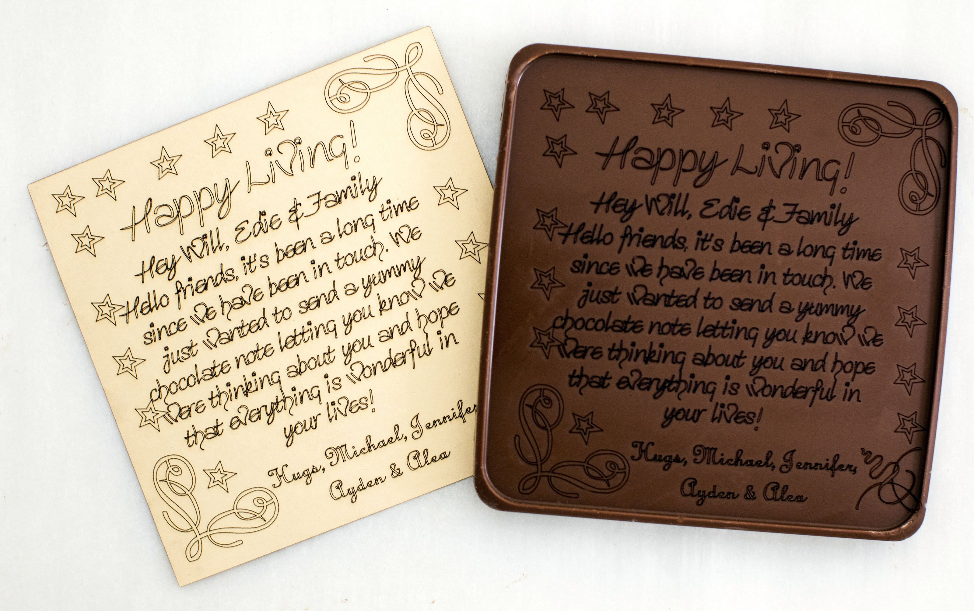 5x5 chocolate note with laser-engraved (paper) letter
