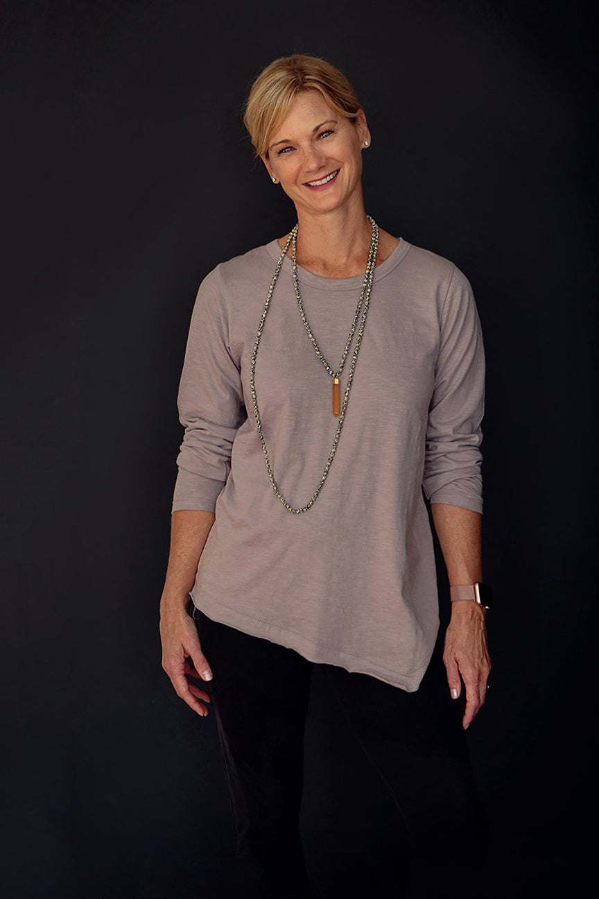 Long Sleeve Crewneck Tunic in Latte