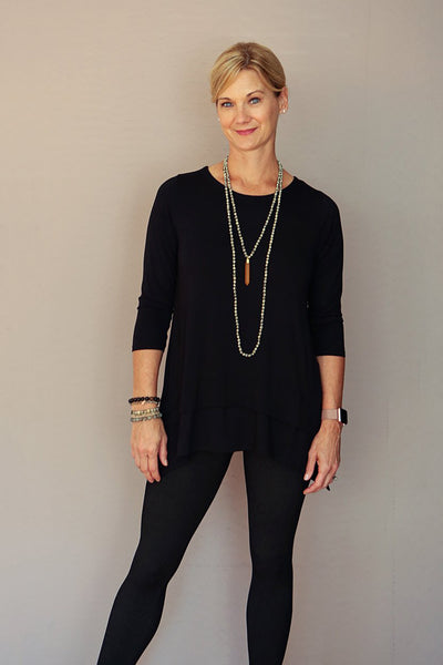 Three Quarter Sleeve Ruffle Tunic in Black Jersey