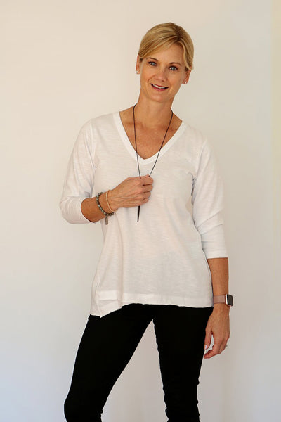 Three-Quarter Sleeve V-Neck Tee with Pocket in White