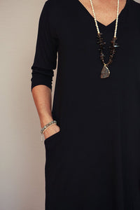 V-Neck Three-Quarter Sleeve Dress