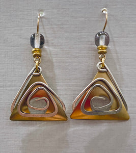 Tri eye  Fish Two Tone Earrings