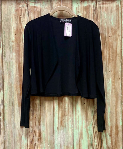 Clip shrug,long slv-black