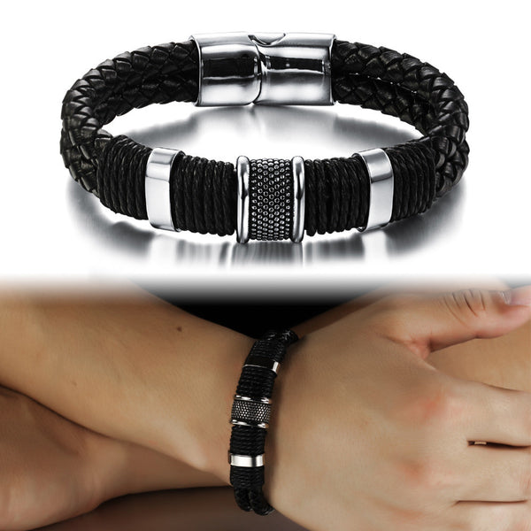 Men's Leather Braid Bracelet