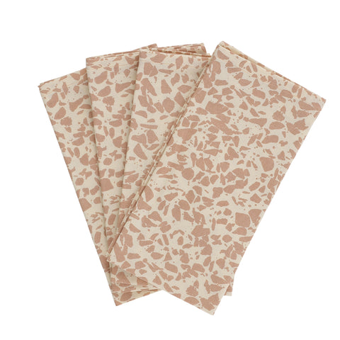 Serviettes de table en coton organique terrazzo - Rose (lot de 4)