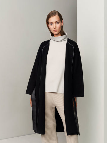 The Movers Cashmere-Leather Wrap Coat - Black - Movers & Cashmere