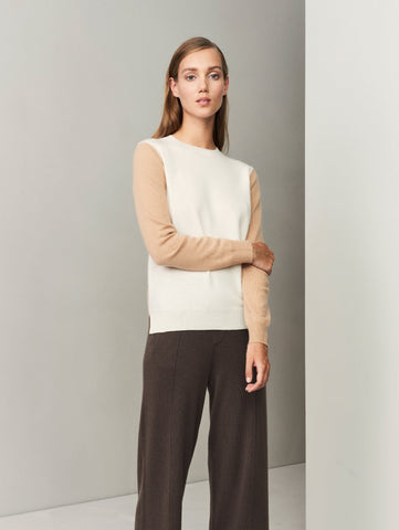 Balance Blocks Cashmere Sweater - Winter White x Camel - Movers & Cashmere