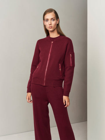 Aarhus Cashmere-Leather Bomber - Autumn Burgundy - Movers & Cashmere