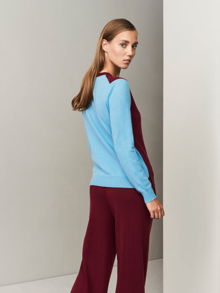 Balance Blocks Cashmere Sweater - Autumn Burgundy x Sky Blue - Movers & Cashmere