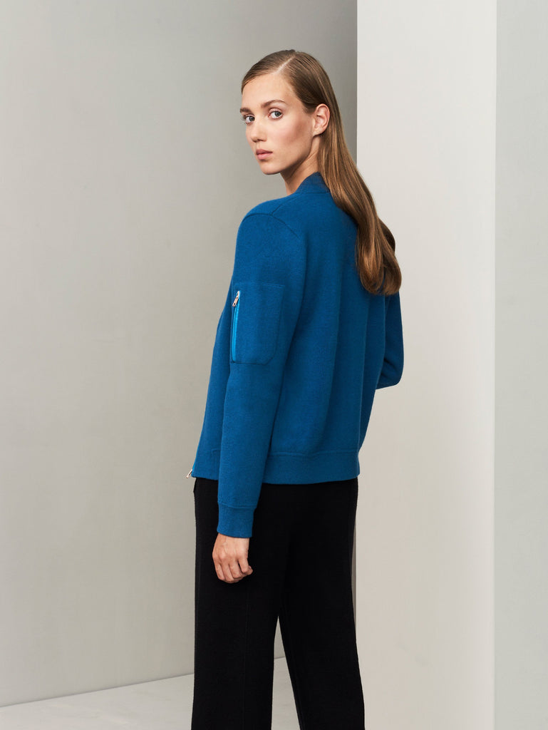 Aarhus Cashmere-Leather Bomber - Island Blue - Movers & Cashmere