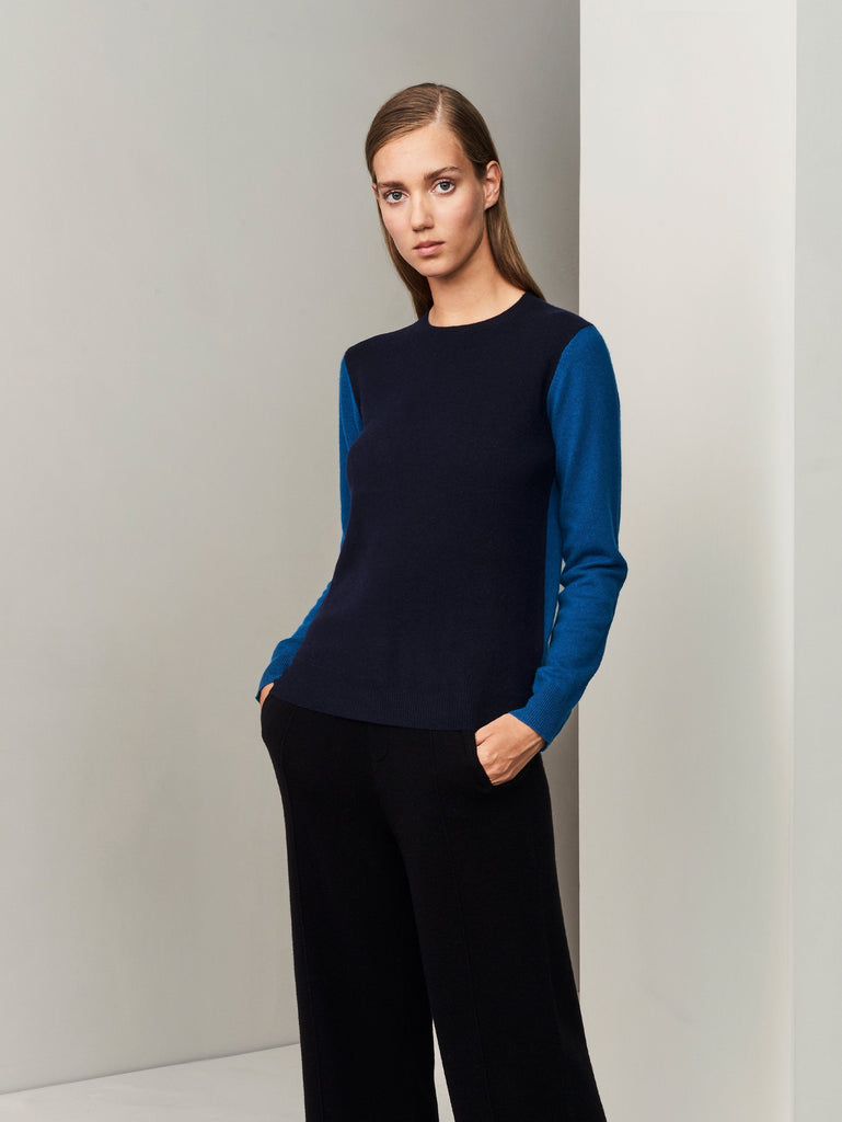 Balance Blocks Cashmere Sweater - Dark Navy x Island Blue - Movers & Cashmere
