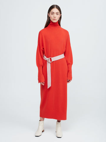 In the Moment Turtleneck Dress - Poppy Red - Movers & Cashmere