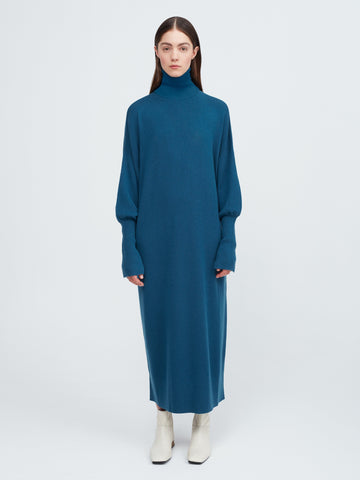 In the Moment Turtleneck Dress - Island Blue - Movers & Cashmere
