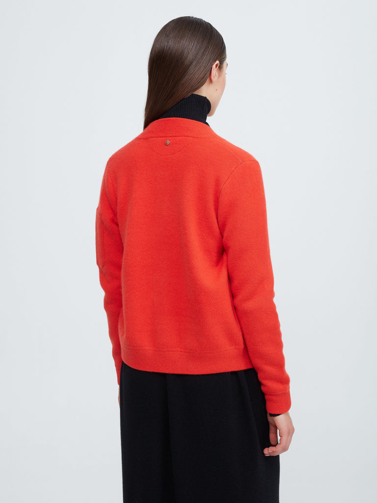 Aarhus Cashmere-Leather Bomber - Poppy Red - Movers & Cashmere