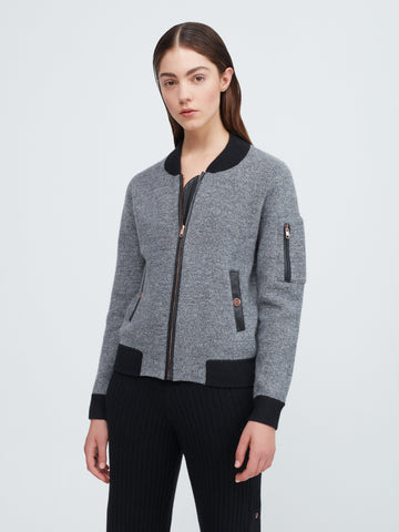 Aarhus Cashmere-Leather Bomber - Marble x Black - Movers & Cashmere