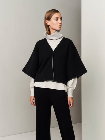 Outlined Cashmere-Leather Cape Jacket - Movers & Cashmere