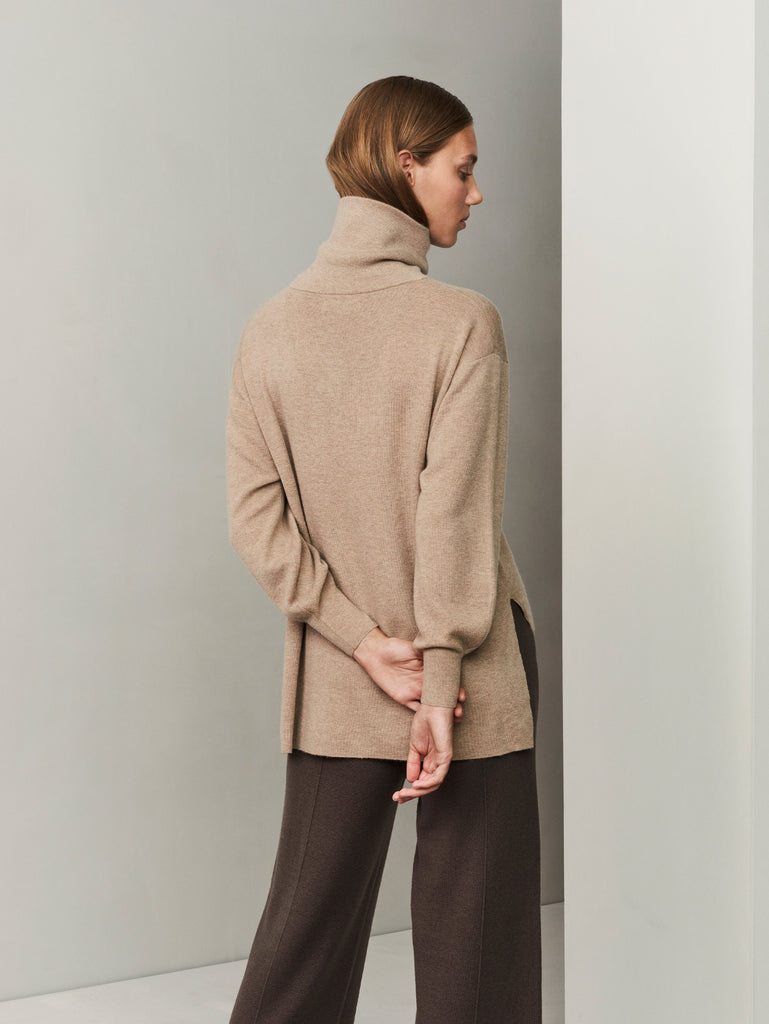 [ECO Cashmere] In the Form Eco-Cashmere Turtleneck Sweater - Light Taupe - Movers & Cashmere