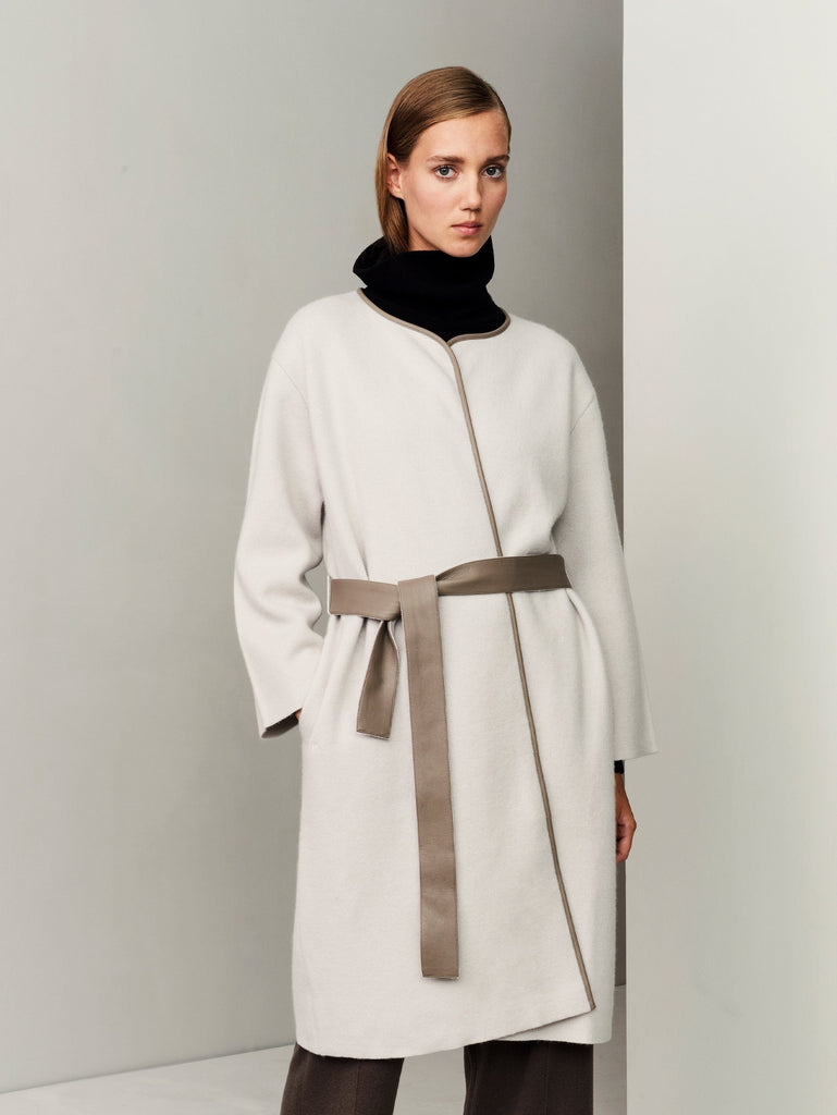 The Movers Cashmere-Leather Wrap Coat - Bone Grey - Movers & Cashmere