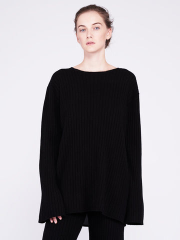 Get Set Oversized Ribbed Cashmere Sweater - Black - Movers & Cashmere