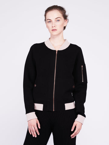Globe-Trotter Two-Tone Cashmere Bomber - Black x Dusty Pink - Movers & Cashmere