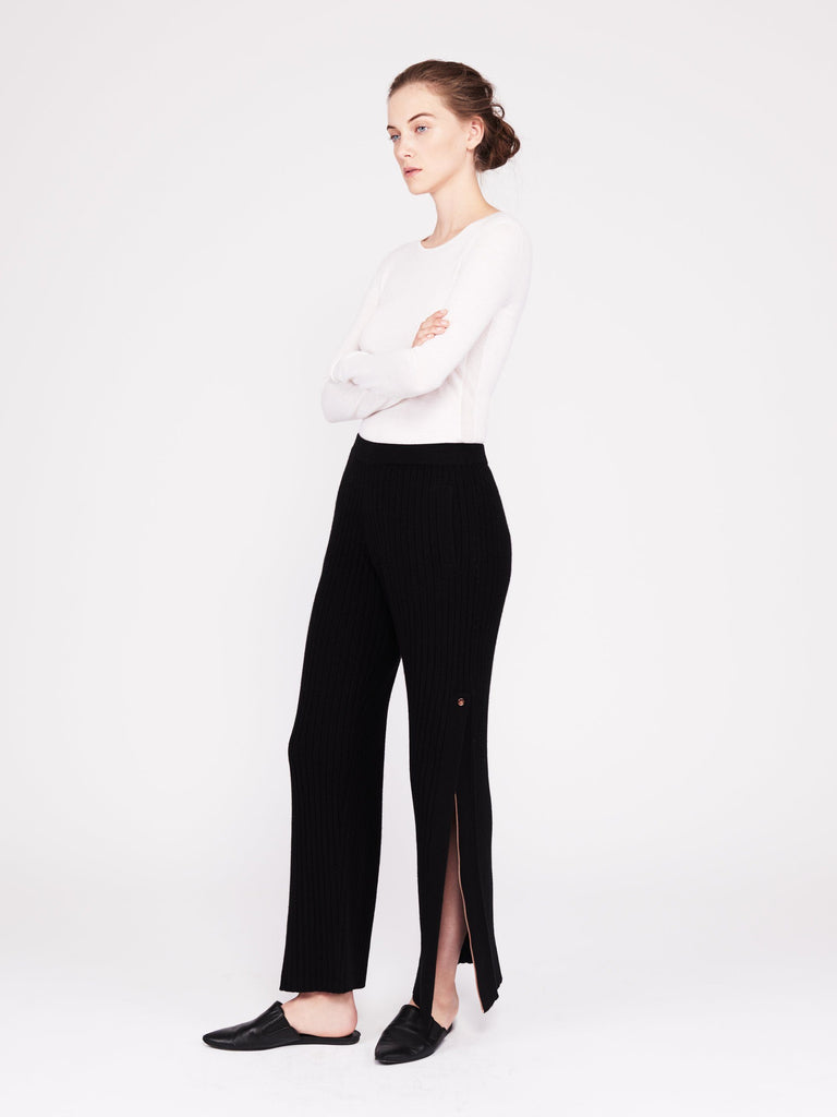 Get Set Ribbed Cashmere Wide-Leg Track Pants - Black - Movers & Cashmere