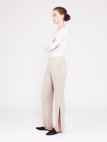 Get Set Ribbed Cashmere Wide-Leg Track Pants - Sand - Movers & Cashmere