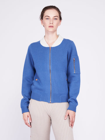 Globe-Trotter Two-Tone Cashmere Bomber - Mer Turque x Winter White - Movers & Cashmere